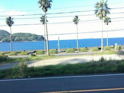 踊り子号の車窓から見える伊東の海