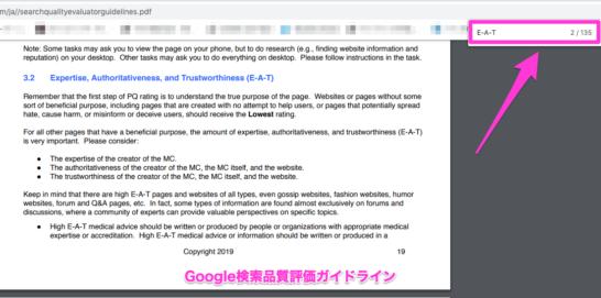 Google検索品質評価ガイドラインにおいてのE-A-T